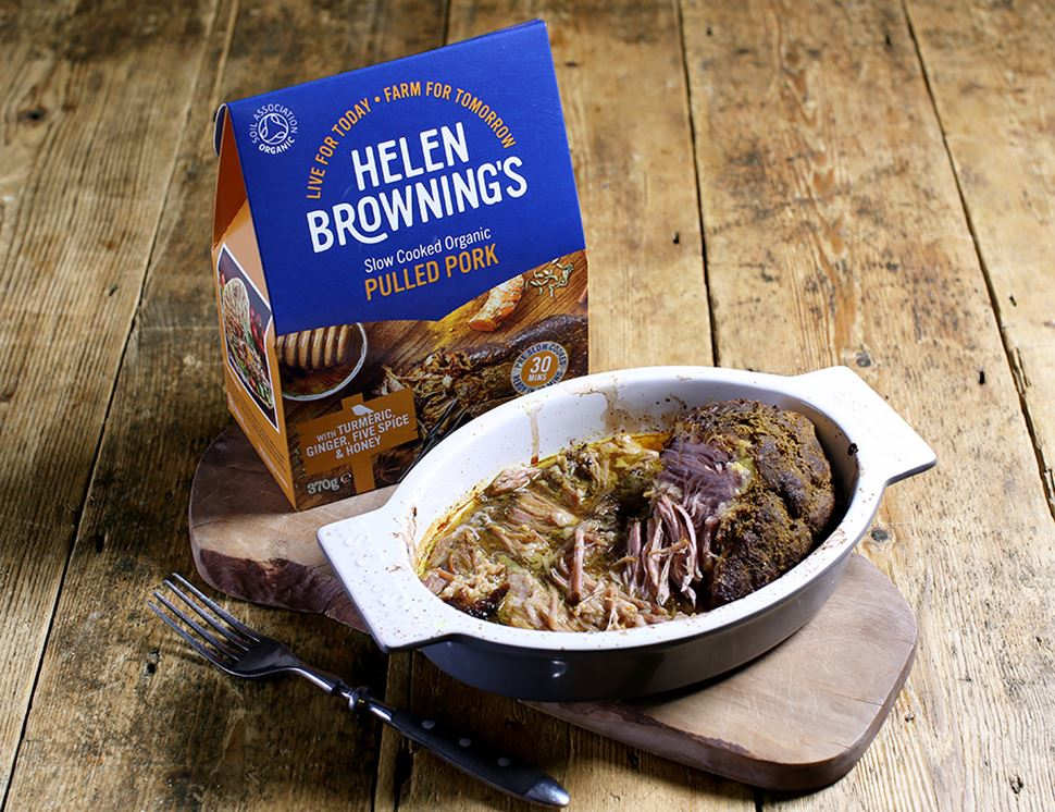 Pulled Pork with Turmeric, Ginger, Five Spice & Honey, Organic, Helen Browning (370g)