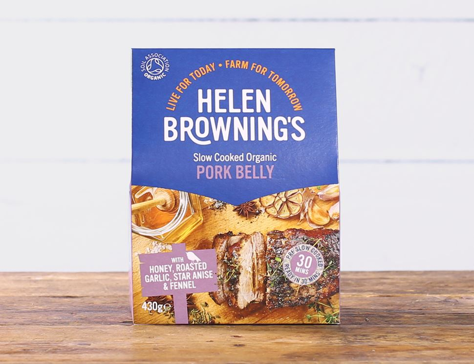 Pork Belly with Honey, Roasted Garlic, Star Anise & Fennel, Organic, Helen Browning (430g)