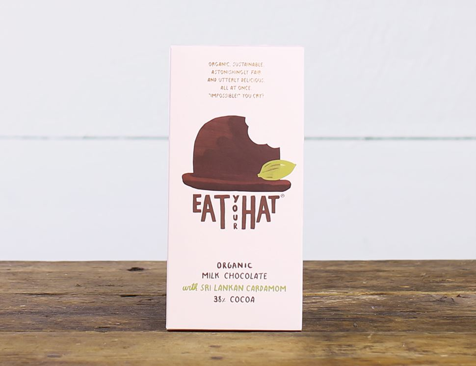 Milk Chocolate with Cardamom, Organic, Eat Your Hat (91g)