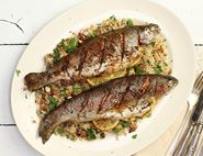 Spanish-Crusted Trout with Lemon & Date Cauli Couscous