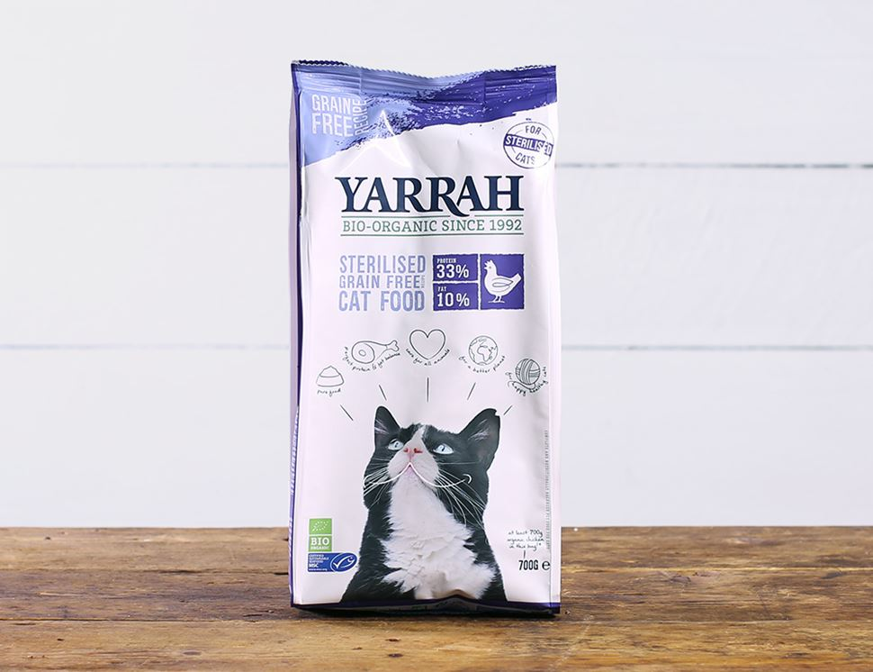 Grain-Free Chicken & Fish Dry Food for Sterilised Adult Cats, Organic, Yarrah (700g)