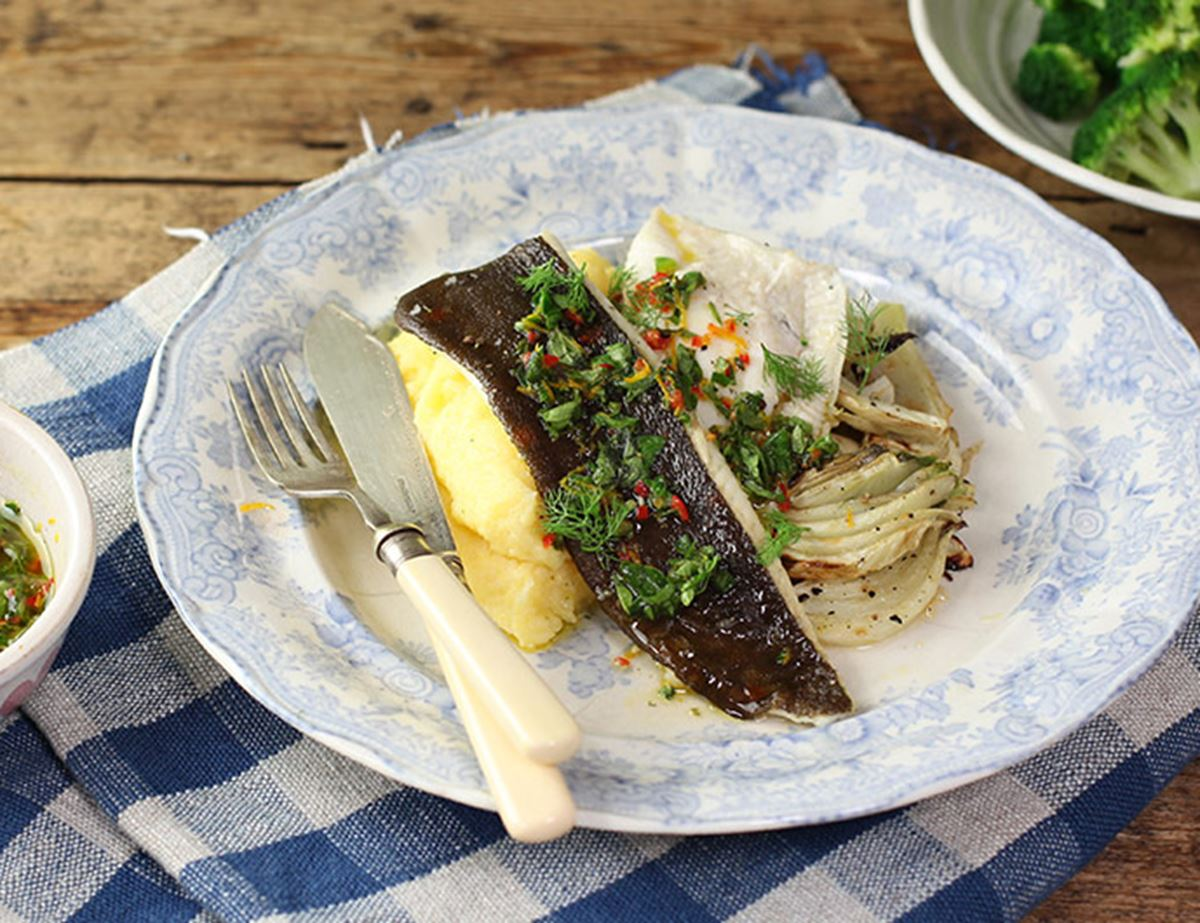 Grilled Plaice Fillets with Wet Polenta