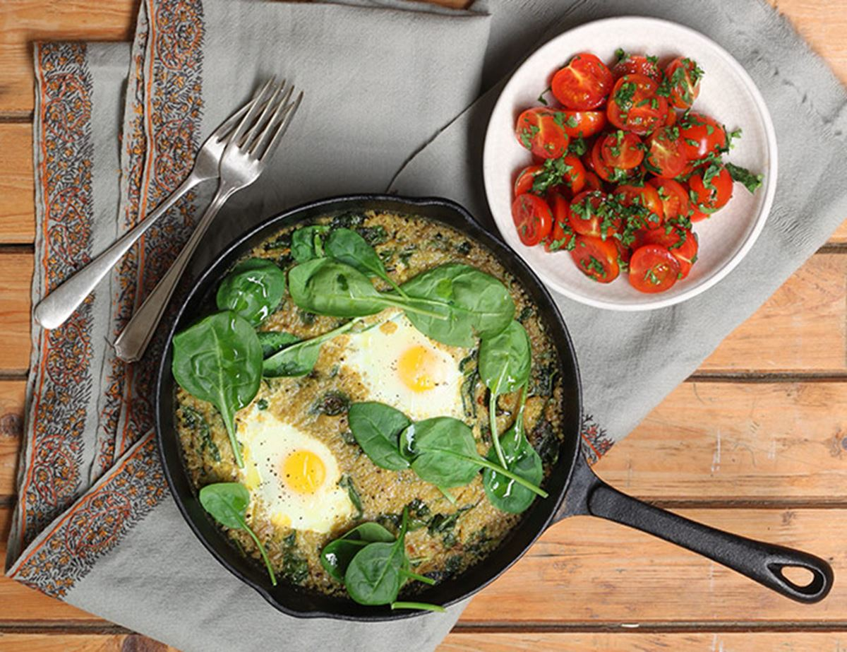 Curried Quinoa Risotto with Spinach & Grilled Eggs