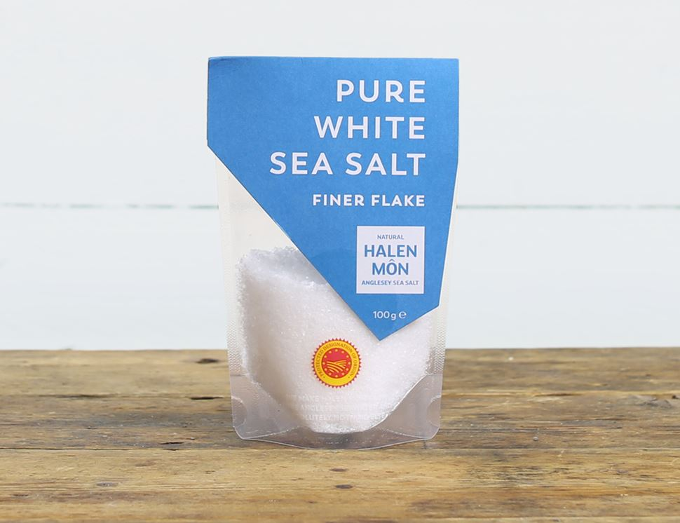 Pure White Finer Flake Sea Salt, Halen Môn (100g)