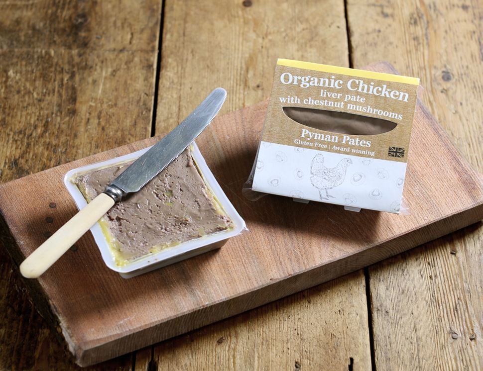 Chicken Liver Pâté with Chestnut Mushroom, Organic, Pyman Pâtés (110g)