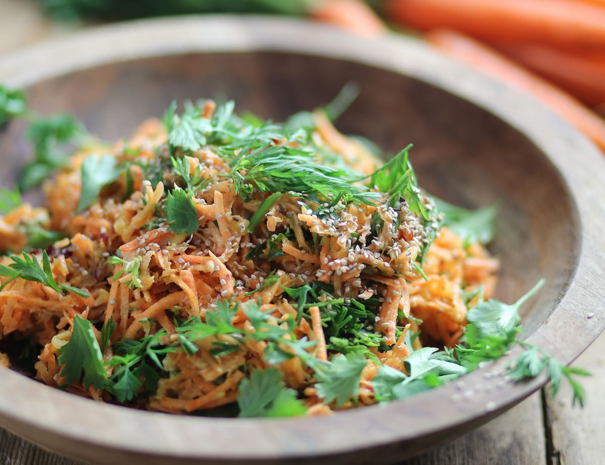 Carrot & Nectarine Slaw with Tahini