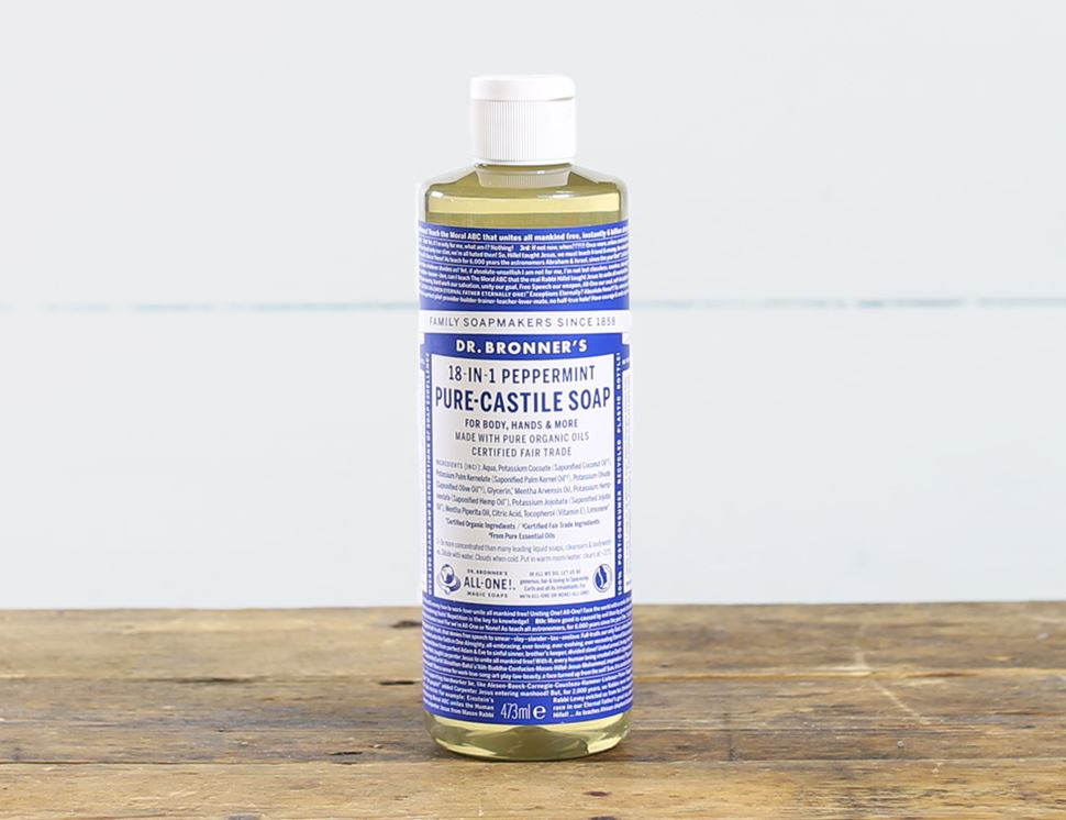 Peppermint Pure-Castile Liquid Soap, Organic, Dr Bronner's (473ml)