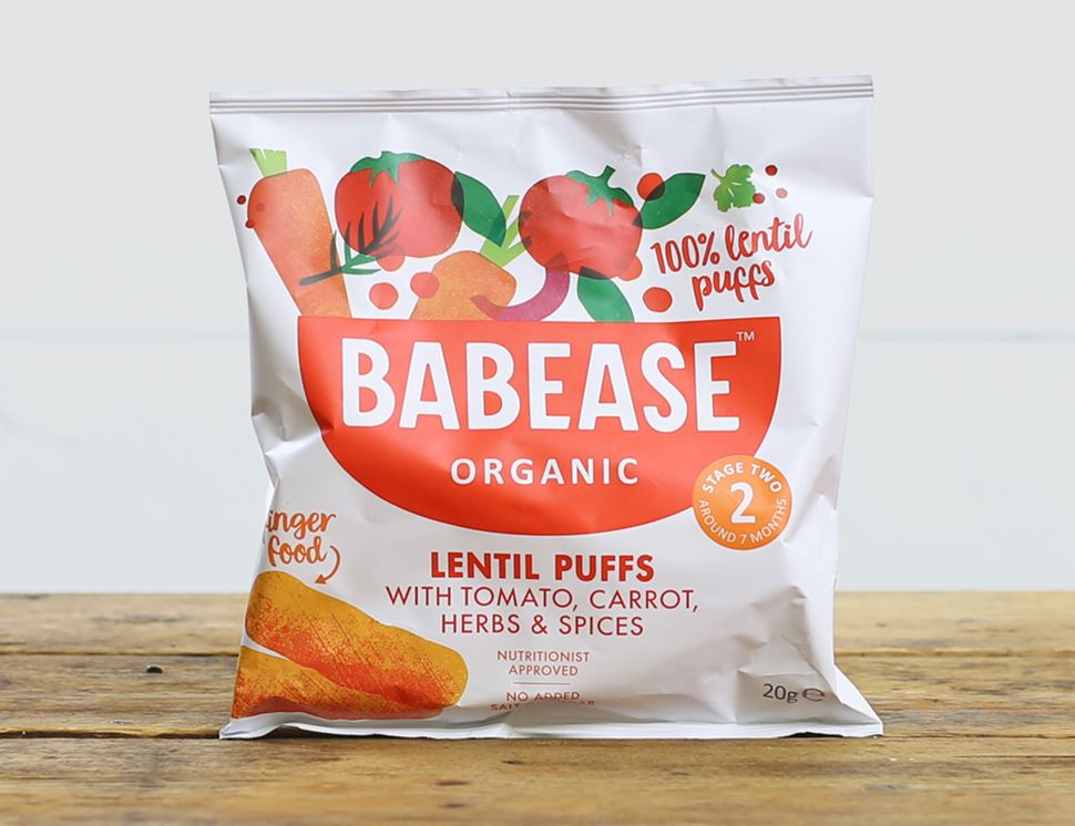 Lentil Puffs, Tomato, Stage 2, Organic, Babease (20g)