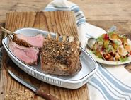 Almond Dukkah Dusted Rack of Lamb with Spicy Plum Salsa