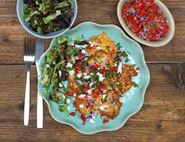 Sweetcorn Fritter Fetas with Lime & Chilli Salsa